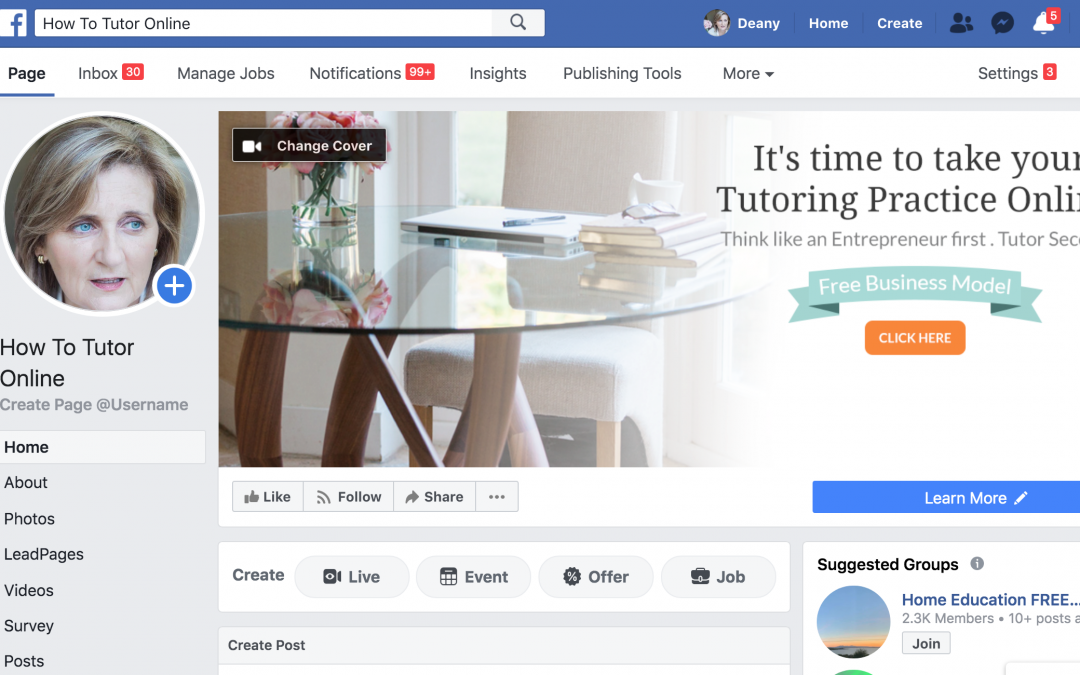 ffacebook for online tutors